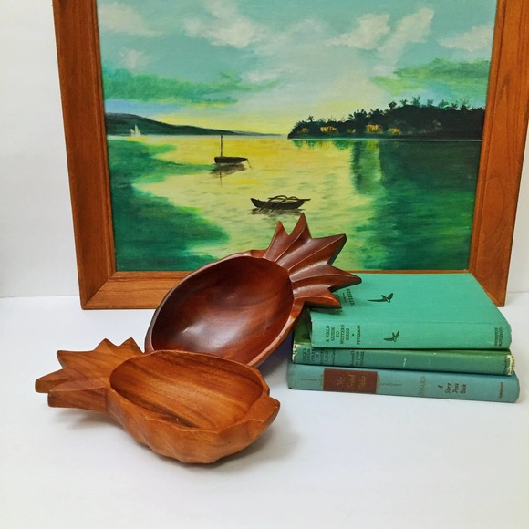 Two Carved Wooden Pineapple Dishes Monkey Pods